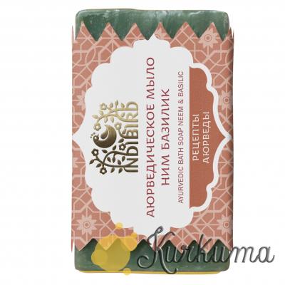 """Аюрведическое мыло """"Ним и Базилик"""", 100 грамм (Neem & Basilic)"""